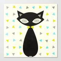mid century Canvas Prints featuring Mid Century Cat  by Laura Ruth