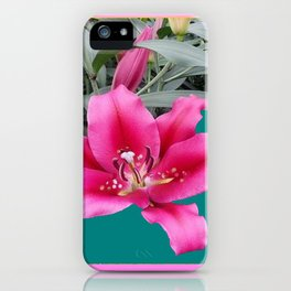 FUCHSIA PINK LILY TEAL ARTWORK iPhone Case
