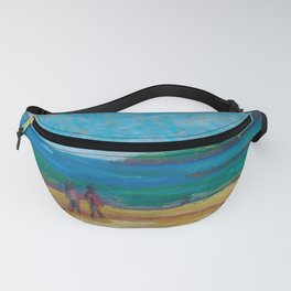 Beach in early spring. Oil pastel etude. Fanny Pack