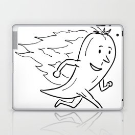 Chilli Pepper on Fire Running Drawing Black and White Laptop & iPad Skin