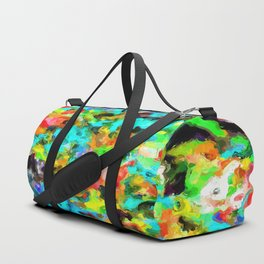 psychedelic splash painting abstract texture in blue orange yellow green black Duffle Bag