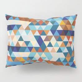 Geometric Triangle Blue, Brown  - Ethnic Inspired Pattern Pillow Sham