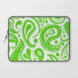 Handpainted Paisley Pattern Green Color Laptop Sleeve