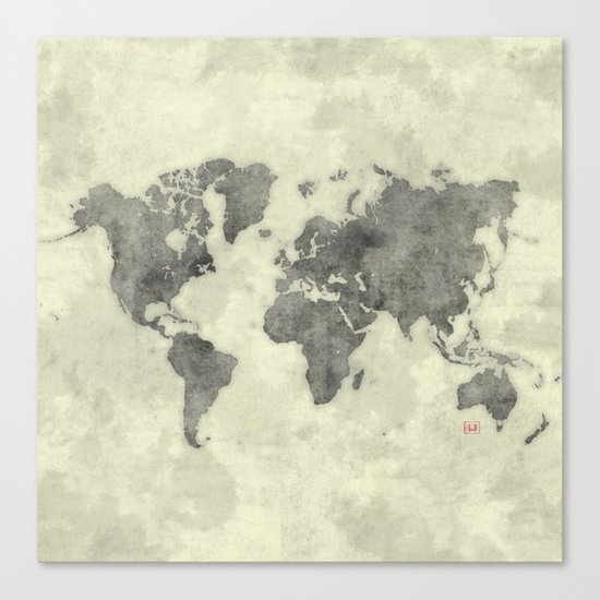World Map Black Vintage Canvas Print