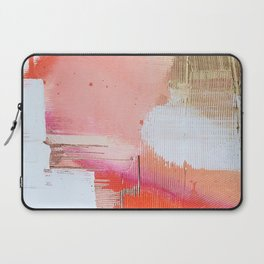 Moving Mountains: a minimal, abstract piece in reds and gold by Alyssa Hamilton Art Laptop Sleeve