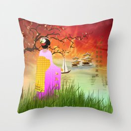 Geisha am Meer Throw Pillow