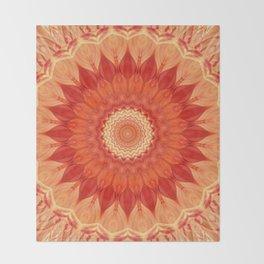 Mandala orange red Throw Blanket