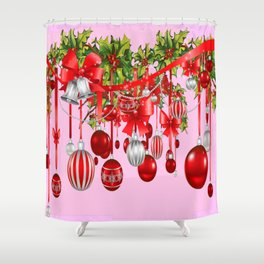 RED HOLIDAY ORNAMENTS FLORAL ART Shower Curtain