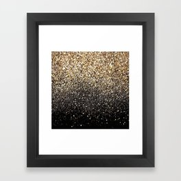 Black & Gold Sparkle Framed Art Print