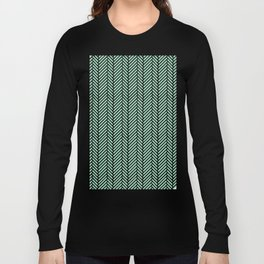Herringbone Mint Inverse Long Sleeve T-shirt