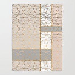 Golden Pastel Marble Geometric Design Poster