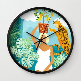 Bring the jungle home #illustration #painting Wall Clock