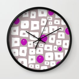 Geometric hand painted magenta pink white squares dots pattern Wall Clock