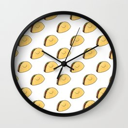 Taco Pattern White Background Wall Clock