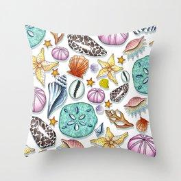 Illustrated Seashell Pattern Throw Pillow