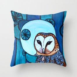 Barn Owl Art Nouveau Panel in blue Throw Pillow