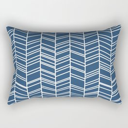 Navy Herringbone Rectangular Pillow