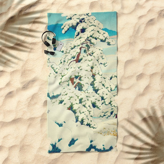 A Morning in the Snow Beach Towel