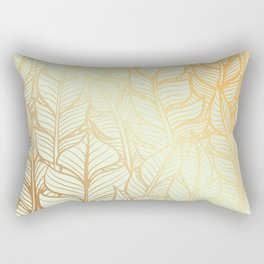 Bohemian Gold Feathers Illustration With White Shimmer Rectangular Pillow