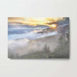 Sunrise and Dust - Mountains - Forest - Wood - Trees - Fog Metal Print