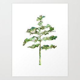 Pine Tree #3 in Green - Ink painting Art Print