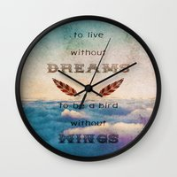 mandie manzano Wall Clocks featuring Dreams Are Wings by Diogo Verissimo