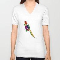 lizard V-neck T-shirts featuring Lizard by Aleksandra Mikolajczak