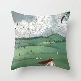 Girl And Fly Birds Throw Pillow