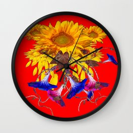 Morning Glories, Sunflowers Red Abstract Wall Clock