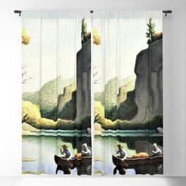 Classical Masterpiece 'Ozark Reflections' by Thomas Hart Benton Blackout Curtain