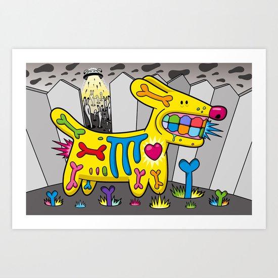 Dog vs Aliens Art Print