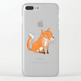 Happy Cartoon Fox Clear iPhone Case