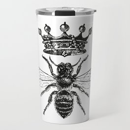 Queen Bee | Vintage Bee with Crown | Black and White | Travel Mug