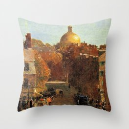Classical Masterpiece 'Mount Vernon Street, Boston' by Frederick Childe Hassam Throw Pillow