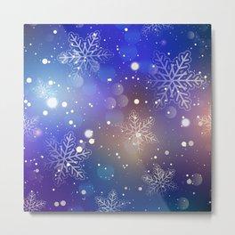 Christmas Shiny Snowflake Background Metal Print