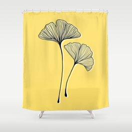 Retro Gingko Leaves Shower Curtain