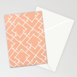 Bamboo Chinoiserie Lattice in Peach + White Stationery Cards