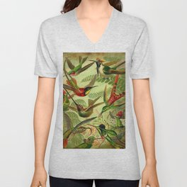 HUMMINGBIRD COLLAGE- Ernst Haeckel Unisex V-Neck