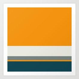 A fascinating compound of Dark Teal, Light Grey, Neon Tangerine and Medium Grey stripes. Art Print