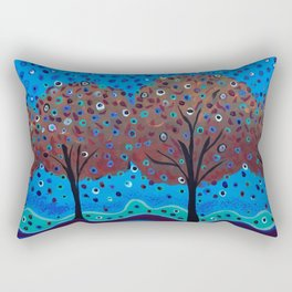 Happy Trees #AcrylicPainting Rectangular Pillow