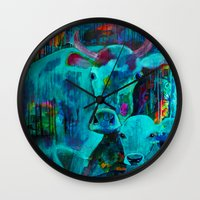 cows Wall Clocks featuring Cows by Silke Powers