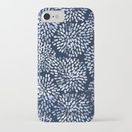 Abstract Navy Watercolor Line Flowers iPhone Case