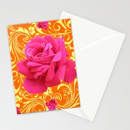PINK ORANGE  ROSE SCROLLS GARDEN ART PATTERN Stationery Cards