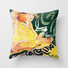 Vintage Art Nouveau Cafe Ad Throw Pillow