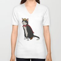 sith V-neck T-shirts featuring Cait Sith by Paul Scott (Dracula is Still a Threat)