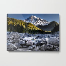 Mt Rainier Morning on the Nisqually #2 Metal Print