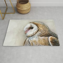 Barn Owl Watercolor, Birds Of Prey Wild Animals Owls Rug