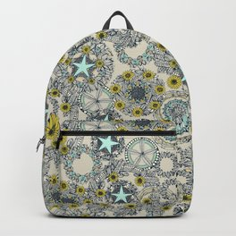 cirque fleur stone aqua star Backpack