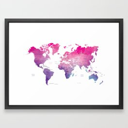 Pink Watercolor World Framed Art Print