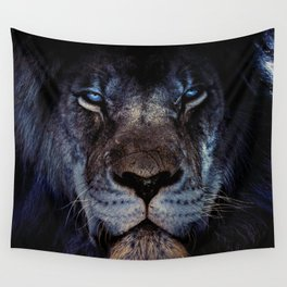 Blue-Gold Lion Wall Tapestry